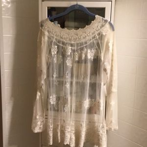 Cream sheer tunic .. wear a tank underneath